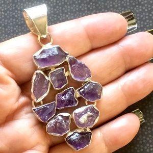 10pc Raw Cut Amethyst Gemstone Pendant Necklace